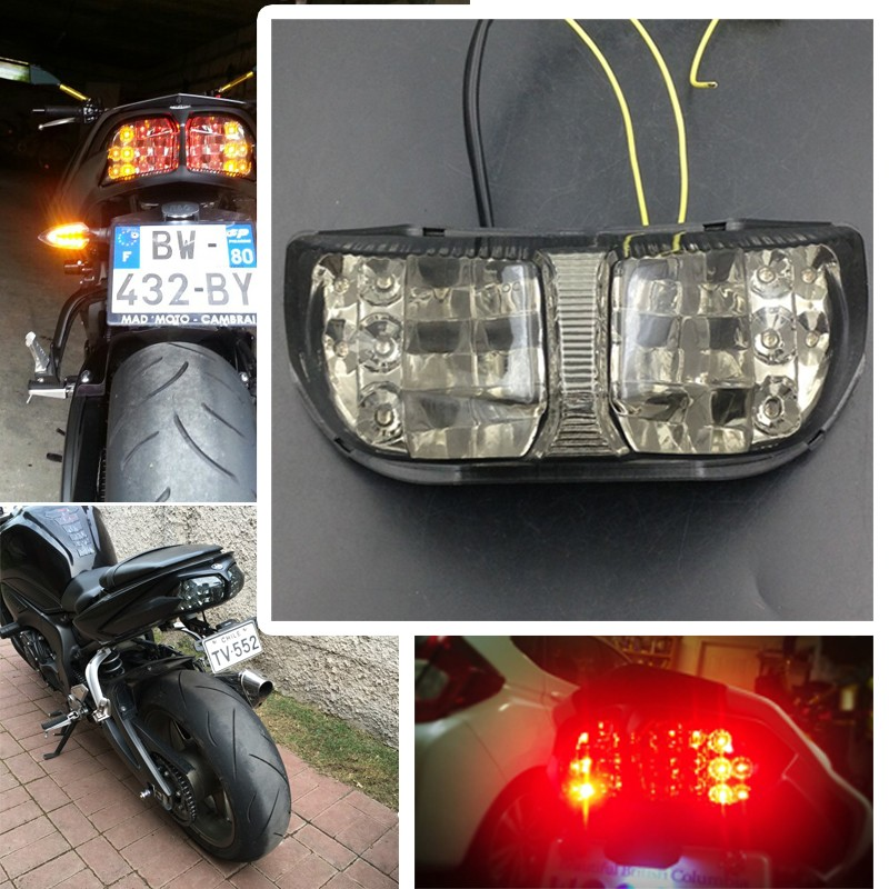 Aftermarket free shipping motorcycle parts LED Tail Light Turn Signals For Yamaha FAZER FZ1 2006 2007 2008 2009 2010 SMOKE laser logo fz6 for yamaha fz6 fazer 2006 2010 2007 2008 2009 cnc motorcycle frame crash slider protector drop resistance