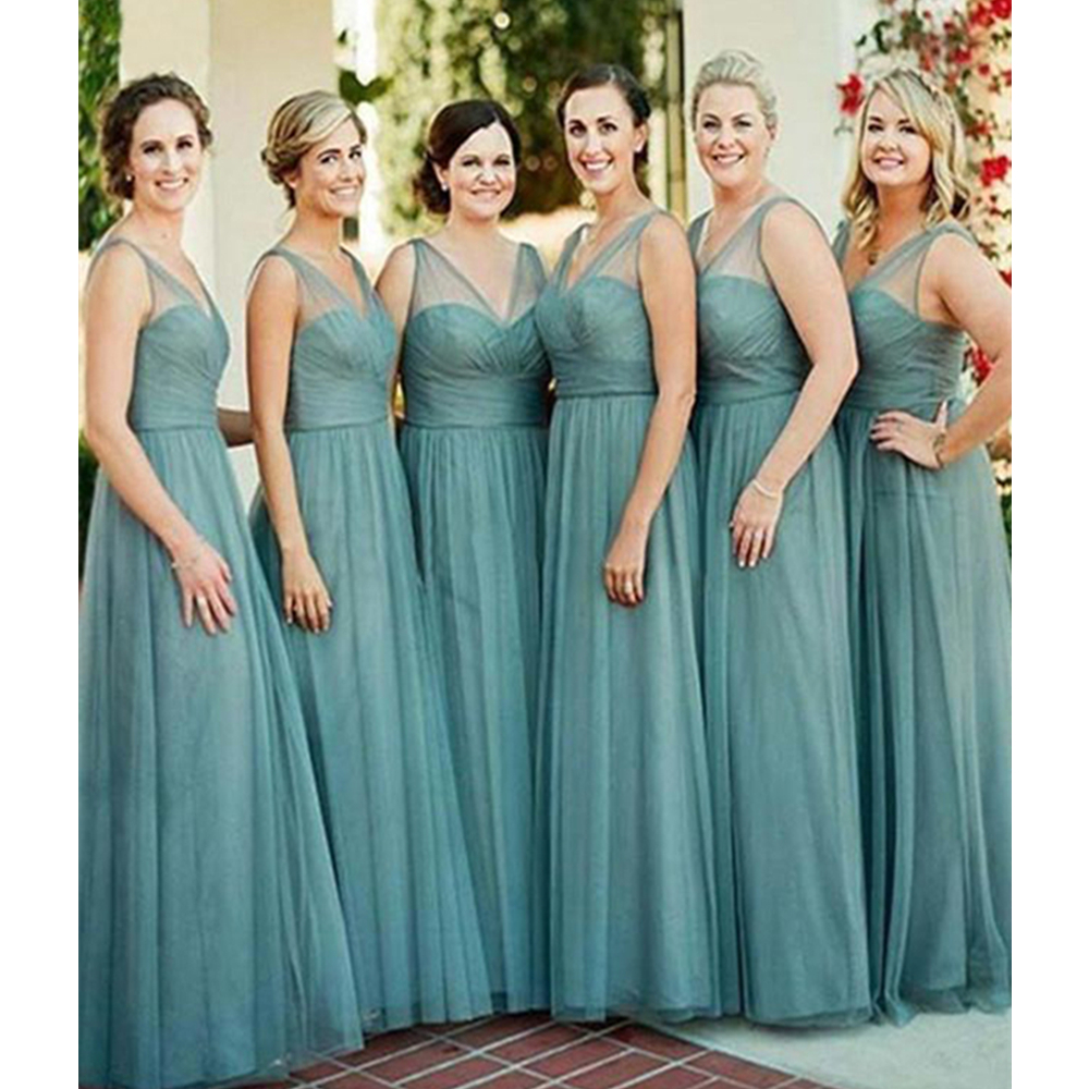 2019 High Quality Tulle Long   Bridesmaid     Dresses   V Neck A Line Floor Length Summer Wedding Party Gowns Cheap Maid Of Honor   Dress