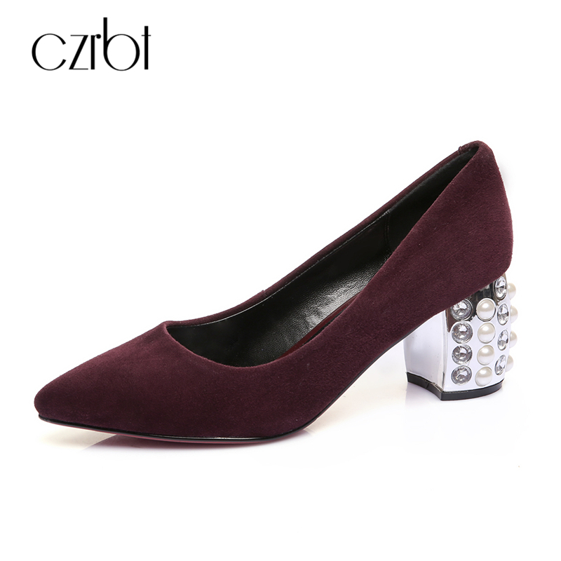 CZRBT High Quality Women Pumps Spring Autumn Pointed Toe High Heels Wine Red Black High Shoes 6 CM Pearl Heel Woman Shoes Heels