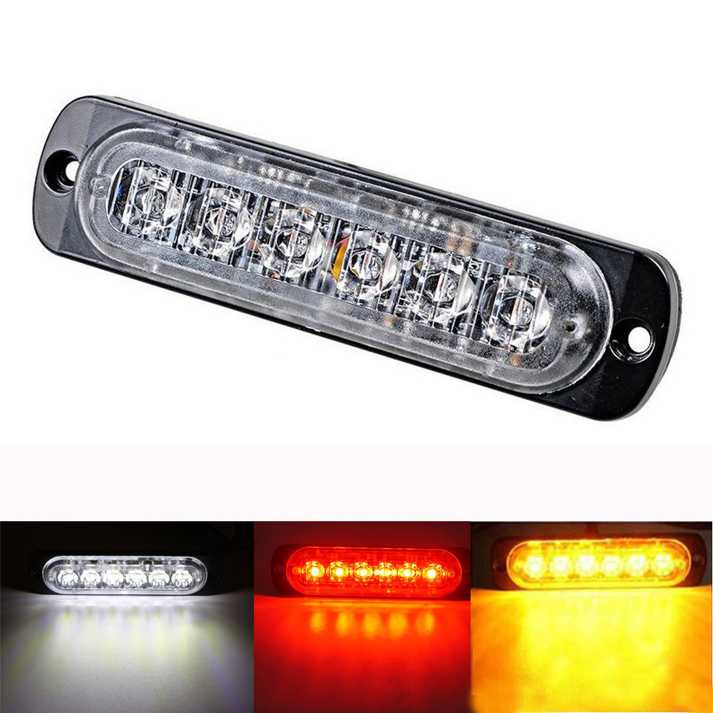DC12-24V 18W 6 LED Amber/Red/White Car Truck Motorcycle Emergency Beacon Warning Hazard Flash Strobe Underbody Turn Light Bar