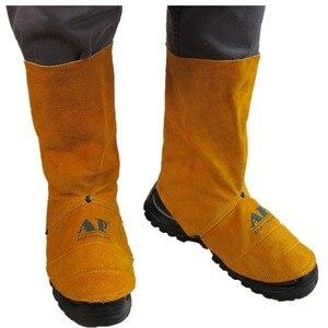 Image 4 - Профессиональные сварочные лопатки из воловьей кожи огнестойкая термостойкая Рабочая защитная крышка для обуви сварочная гетра