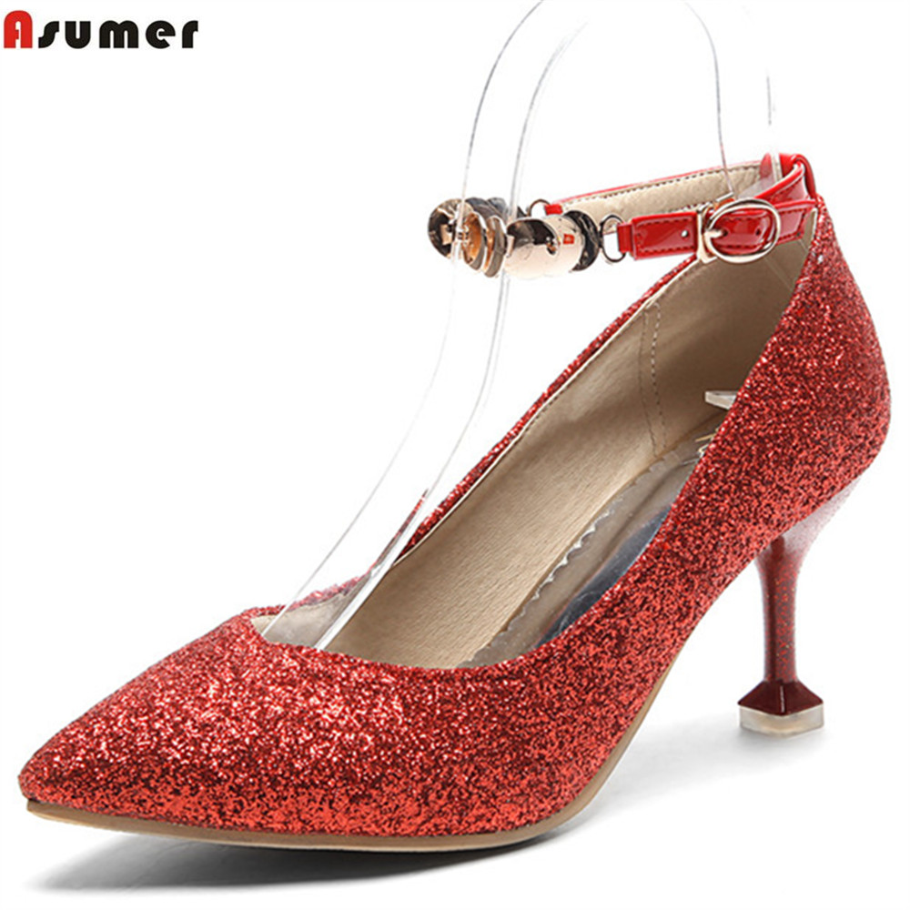ASUMER red pink pointed toe fashion spring autumn wedding shoes woman pumps elegant bling thin heel women high heels shoes brand shoes woman spring summer rainbow women pumps high heels fashion sexy slip on pointed toe thin heel party wedding shoes