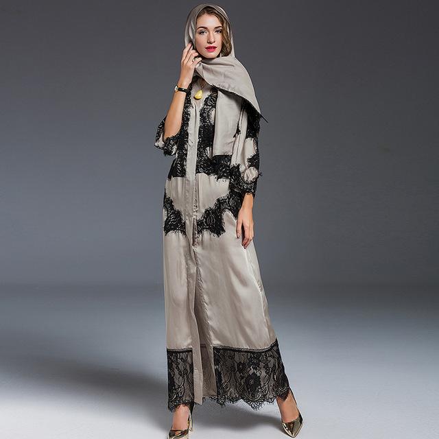 2016 de La Moda de Dubai Abaya Musulmán Ropa Islámica Para Las Mujeres Abaya Musulmán abaya Jilbab Chilaba Musulmane Alta Calidad del Vestido de encaje