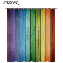Cortina de ducha de madera para baño, Vintage, azul, verde, amarillo, Vintage, cortina de madera para el baño, tela decorativa para ducha