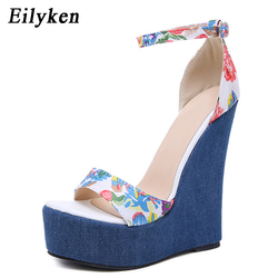 Eilyken 2019 New Designer Print Denim Sandals Roman Sandals High Quality Wedges High Heels Peep-Toe Platform Shoes Woman 2