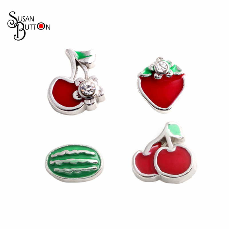 New Arrival Wholesale Fruit Floating Locekts Charm Strawberry Cherry Watermelon floating charms for Floating Glass lockets