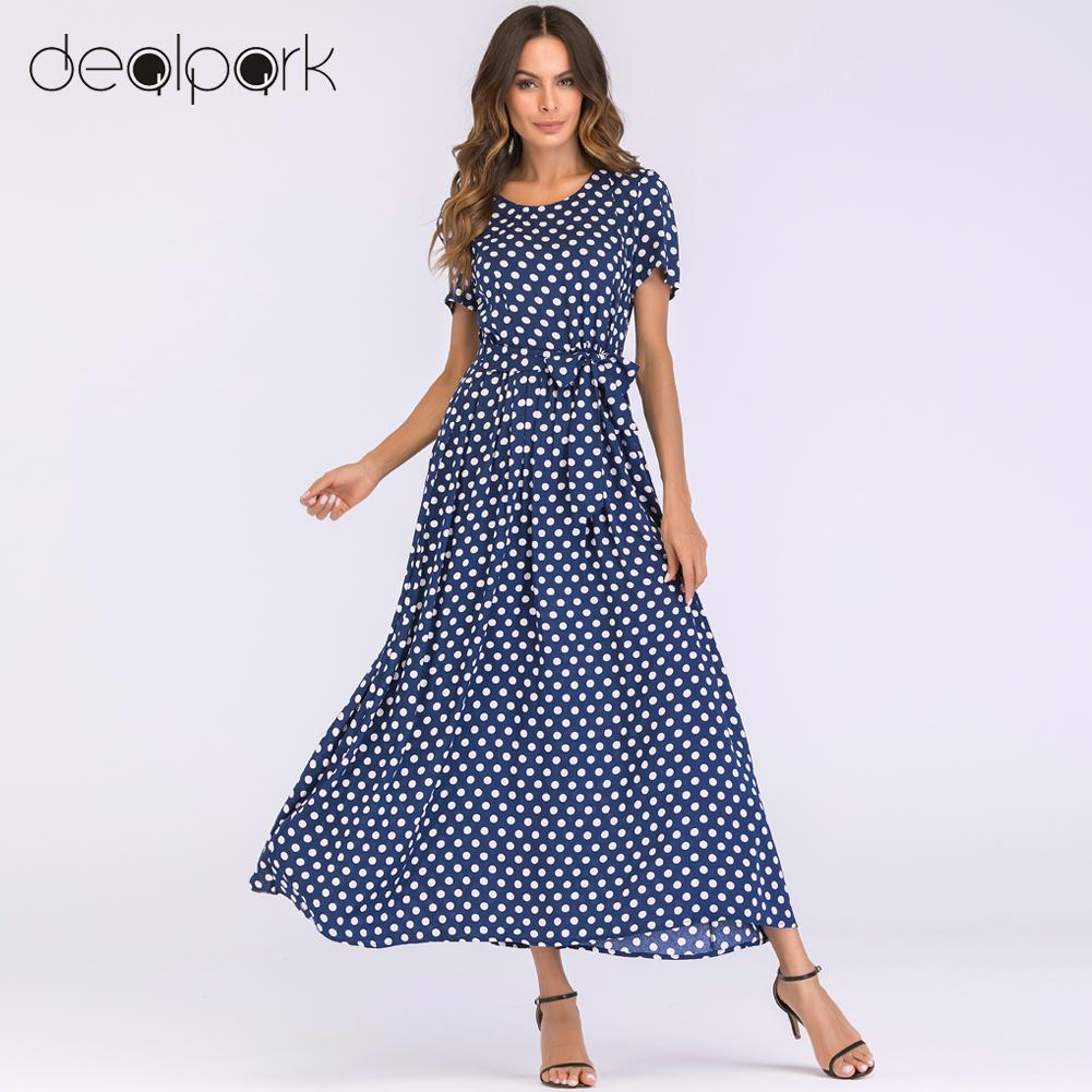 Korean Fashion Women Maxi Long Dress Vintage Polka Dot Dress Short Sleeves High Waist A-Line Beach Dress Plus Size 3XL 4XL 5XL
