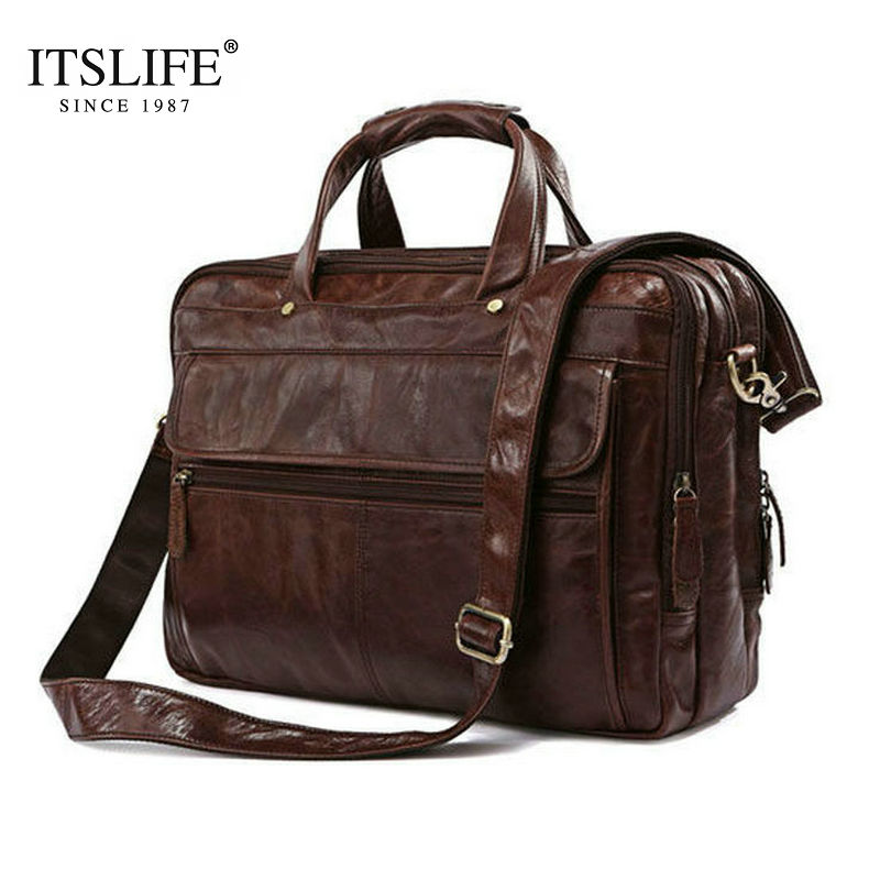 Free Shipping Hight Quality Brown 100% Genuine Leather  Men Portfolio Briefcase Laptop Bag Messenger Handbag #7146C free shipping men genuine leather briefcase brown color high quality fashion business messager shoulder attache portfolio totet8