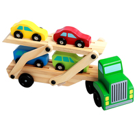 5 IN 1 Wooden Transport Simulation Double deck Truck Model Baby Hand eye Coordination Static Glider Child Wooden Car Toy