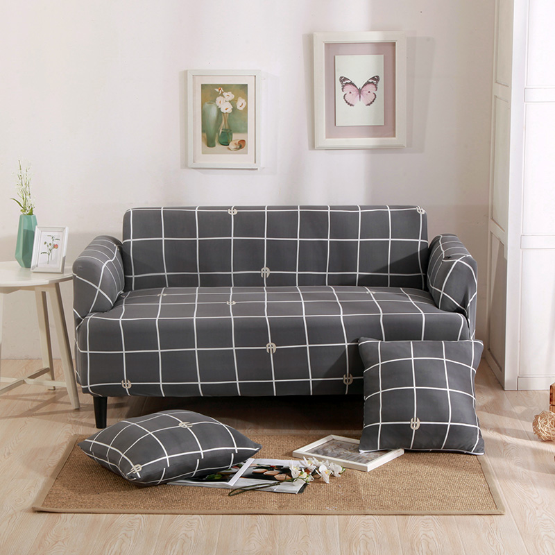 Gris Plaid Canape D Angle Housses Pour Salon Universel Stretch