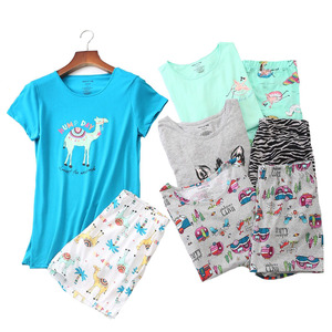 Image 1 - 2019 Summer Women Pajamas Set Cartoon Animal Short Sleeve+Shorts 2Pcs Sleepwear Korean Style Comfort Soft Round Neck Homewear