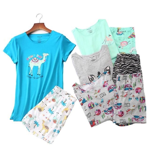2019 Summer Women Pajamas Set Cartoon Animal Short Sleeve+Shorts 2Pcs Sleepwear Korean Style Comfort Soft Round Neck Homewear