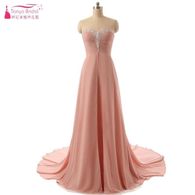 Pêche longue rose robe de bal une ligne pas cher Discount robes de soirée cristal robe formelle pas cher