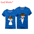 2017 New Style Couple T Shirt For Wedding Mens And Womens Short Sleeve T Shirt O-neck S-4xl Cartoon Couple T Shirt