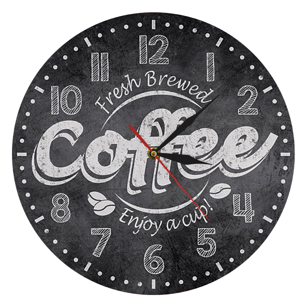 Coffee Decorative Wall Clock Kitchen Decor Coffee Shop Decor Fresh Brewed Coffee Enjoy A Cup Wall Clocks Watches For Cafe