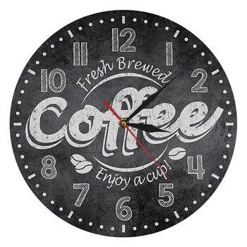Reloj de pared decorativo para café, decoración para cocina, decoración para cafetería, café fresco, disfruta de una taza, Relojes de pared, relojes para café