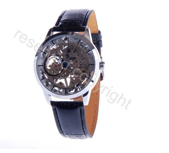 Free shipping golden hollow skeleton transparent watches Fashion men mechanical Timepiece hand wind watches chronograph watch