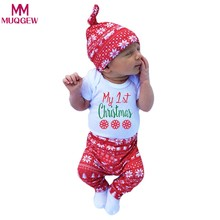22842f8339d88 (Ship from US) 3pcs Xmas set Newborn Baby Girls Boys My First Letter Print  long sleeve Tops Romper+Long Pants Hat Outfits