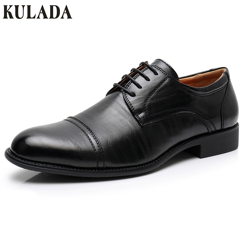 KULADA Men' Shoes Business Classic Leather Spring&Autumn Shoes Men Oxford Luxury Brand Lace-up Shoes Man Dress Casual Shoes