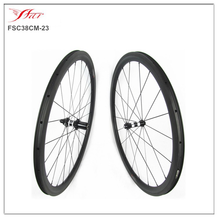 New high end carbon wheelset 38mm clincher rims with DT350 straight pull hub 23mm width carbon wheelset 700C full carbon fiber