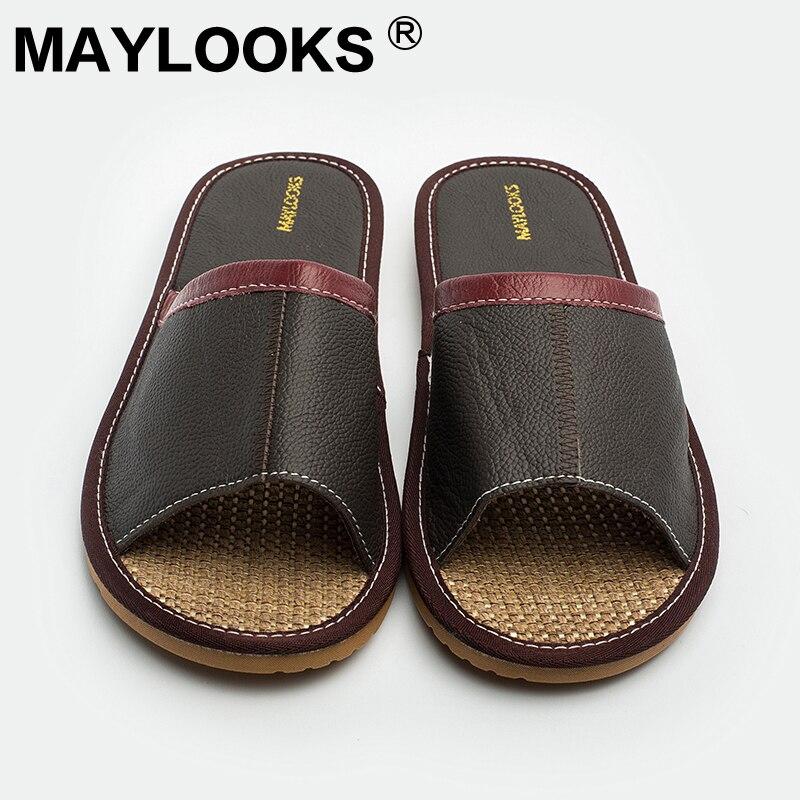 Chinois pas cher vache en cuir plage pantoufle en cuir véritable à - Chaussures pour hommes - Photo 5