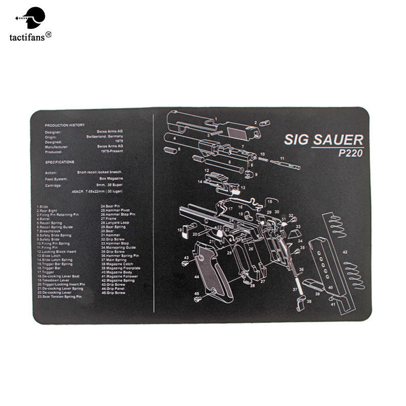 Non-Slip Gun Cleaning Mat Bench Rubber Carpet With Diagram Parts And Instructions AK47 AR15 REM870 1911 P229 P226 Glock S&W B92