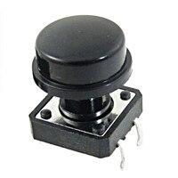 Interruptor de botón táctil de 4 pines con tapa, Interruptor táctil momentáneo de 12x12x12mm, 10 Uds.