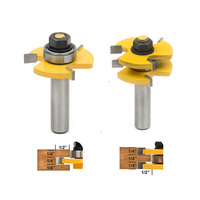 2pcs 1 2 Shank Matched Tongue And Groove Woodworking Cutter Tool Cabinet Router Bits Set For