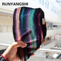 Natural fluorite crystal colorful striped fluorite rainbow quartz jewelry stone ornaments crystal original for gifts