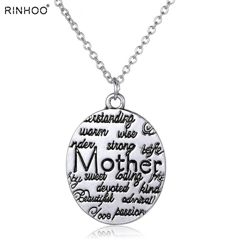 8b8598230 Collar de moda para las mujeres 2018 vintage plata joyería mano estampada  collares colgante madre para el día de la madre regalo personalizado