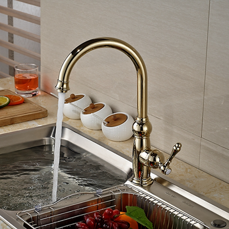 Luxury Golden Brass Kitchen Faucet Swivel Spout Vessel Sink Mixer Tap Single Handle Hole Hot And Cold Mixer chrome brass kitchen faucet spring vessel sink mixer tap hot and cold tap swivel spout single handle hole