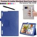 Dobrar Alça de Mão Elástica Alça Inteligente Stand Case Cover For Guia Lenovo 2 A10-30 X30F/A10-70F 10.1 polegada Tablet caixa de Proteção caso