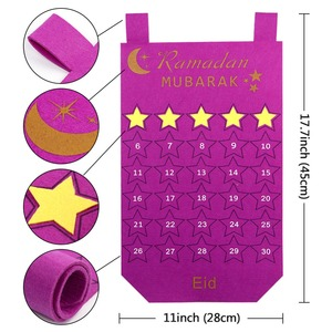 Image 4 - Ourwarm Eid Mubarak Decoratie Diy Vilt Kalender Gouden Ster Sticker Home Muur Opknoping Moslim Balram Ramadan Kareem Festival Party