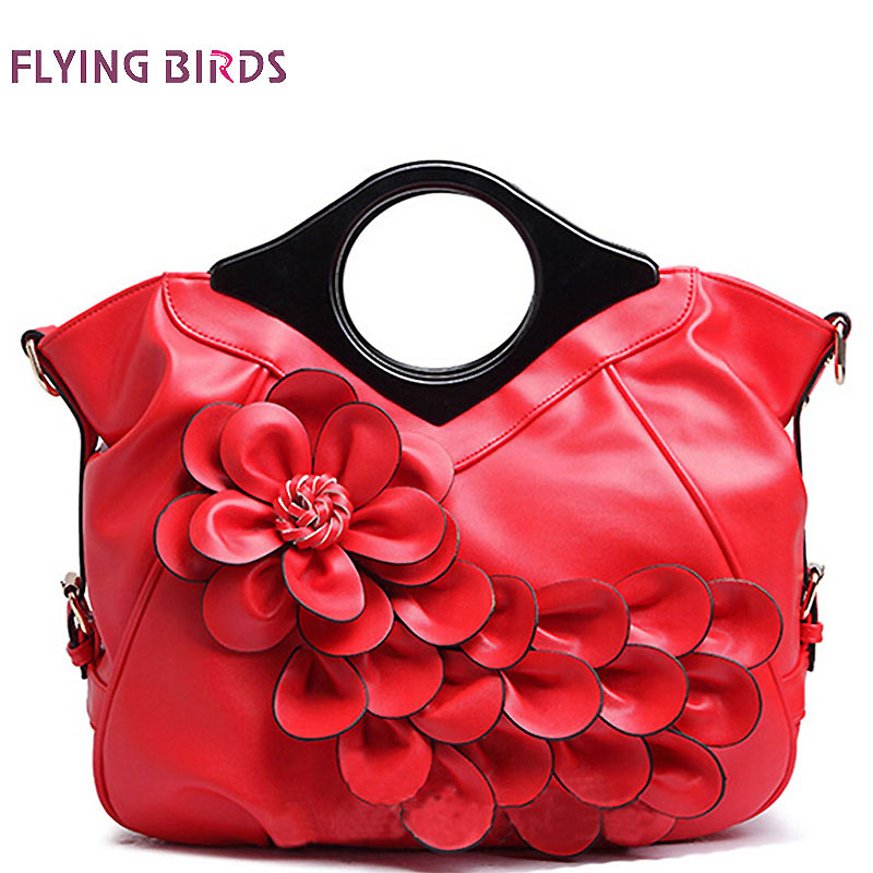 ФОТО FLYING BIRDS! women handbag elegant women leather handbags retro bride wedding tote bolsas brands flower embossed bag LM3161fb