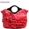 PÁSSAROS QUE VOAM! mulheres bolsa elegantes bolsas de couro das mulheres retro tote bolsas marcas de casamento da noiva flor em relevo saco LM3161fb