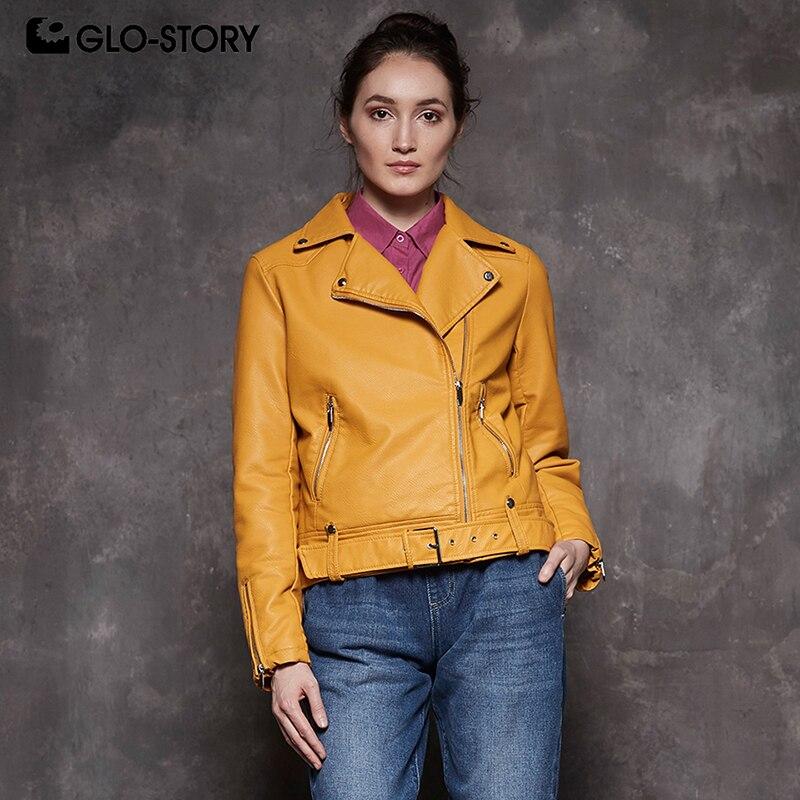 GLO-STORY Для женщин 2018 Повседневное уличная двигателя байкерские куртки женские меховые лайнер зима теплая Искусственная кожа куртка пальто