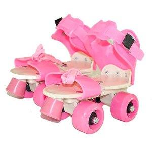Image 1 - 어린이 두 줄 롤러 스케이트 더블 행 4 휠 스케이트 신발 조정 가능한 크기 슬라이딩 인라인 patines en linea kidsgift ib02
