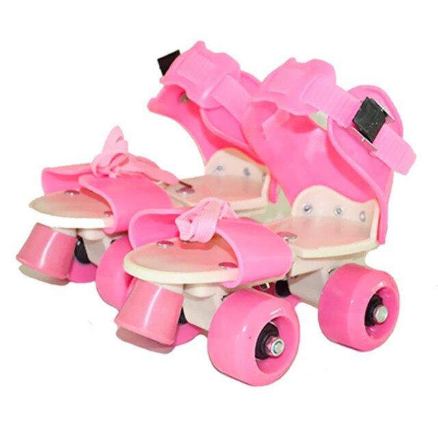Kinder Zwei Linien Rollschuhe Zweireihig 4 Rad Skating Schuhe Einstellbare Größe Schiebe Inline Patines En Linea KidsGift IB02