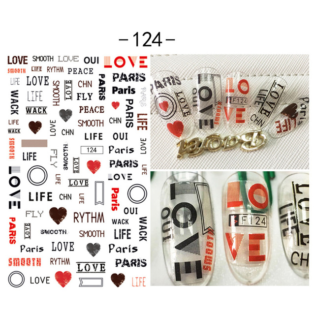 Word Design 3d Nail Art Stickers