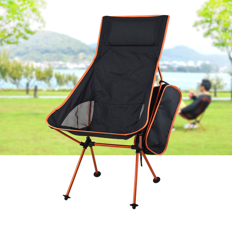 Outdoor Extended Moon Chair 7075 Aluminum Alloy Folding Portable Fishing Director With Pillow aluminum alloy portable outdoor tables garden folding desk with waterproof oxford cloth