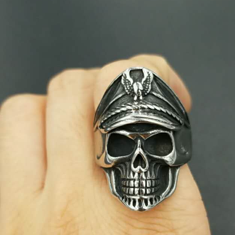 Antique 316L stainless steel eagle head men skull rings punk style American navy skull signet men jewelry party band rings la palmyre zoo