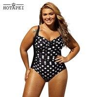 Hotapei 2016 New Arrival Beach Women Set Bathing Suit Big Size XXXXL Black White Polka Dot