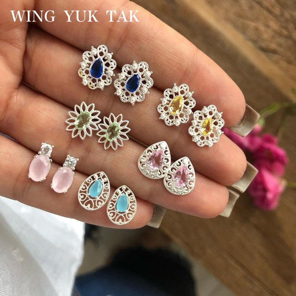 Stud Earrings Set New Arrival Vintage Silver Color Bohemia Earrings for Women wing yuk tak Fashion Geometric Crystal Jewelry-in Stud Earrings from Jewelry & Accessories on Aliexpress.com | Alibaba Group