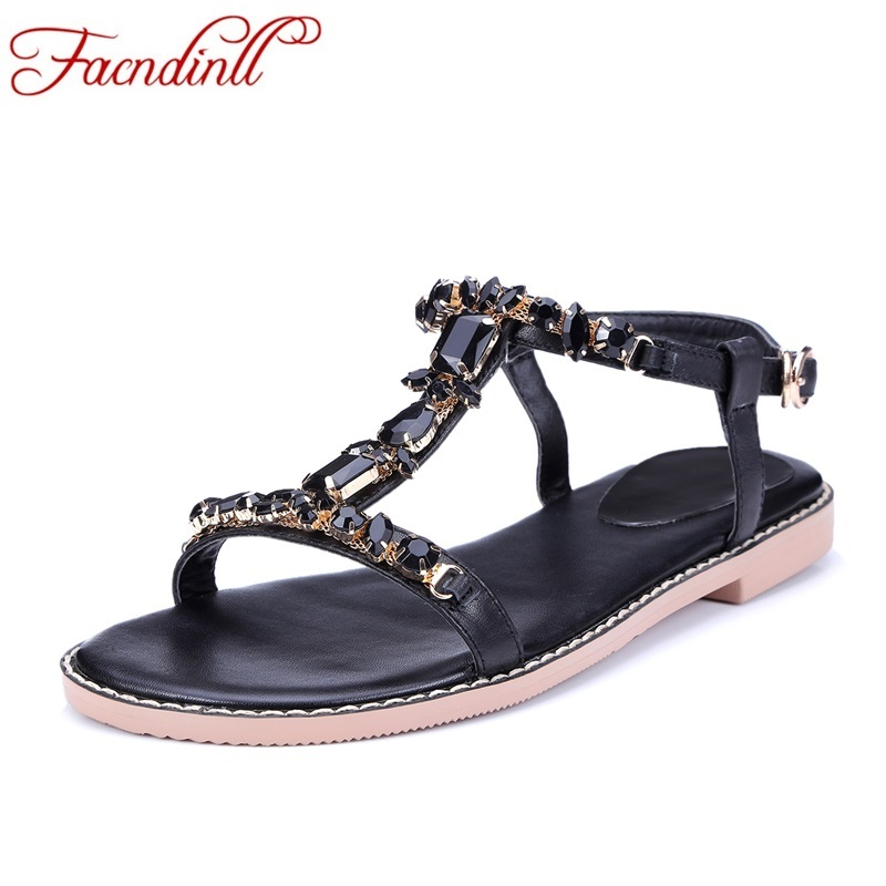 big size new summer brand shoes flat heel open toe buckle casual shoes woman sandal fashion sweet rhinestones women dress shoes new 2017 spring summer women shoes pointed toe high quality brand fashion womens flats ladies plus size 41 sweet flock t179