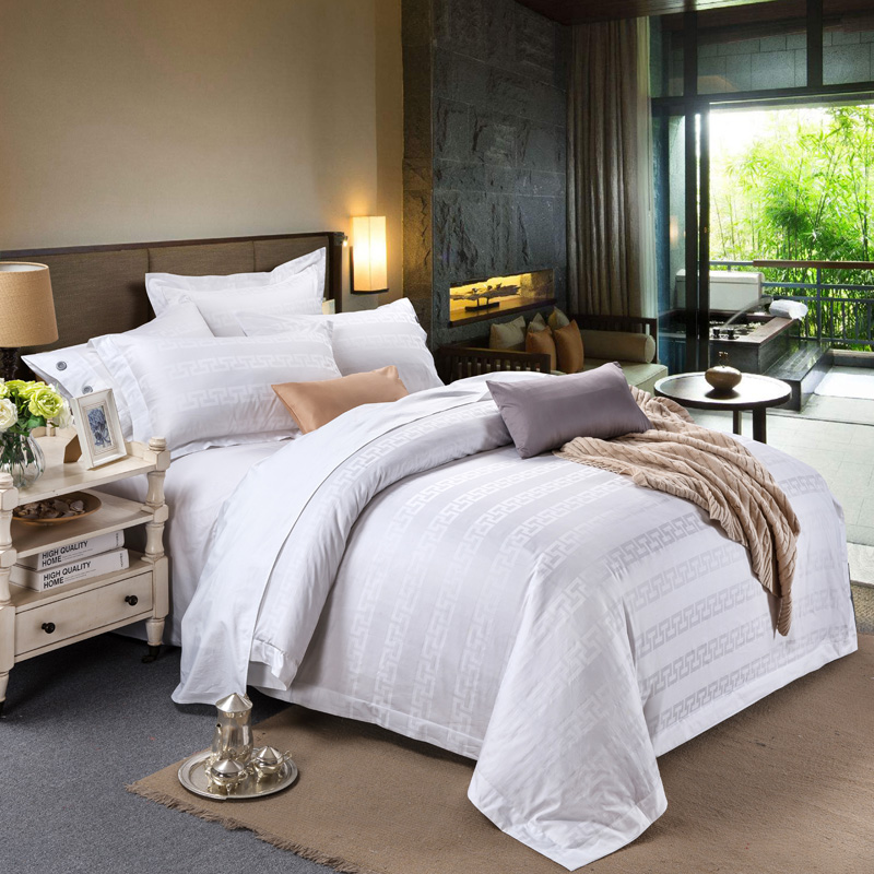 2018 New White Hotel Solid Bedding Set 100% Cotton ...