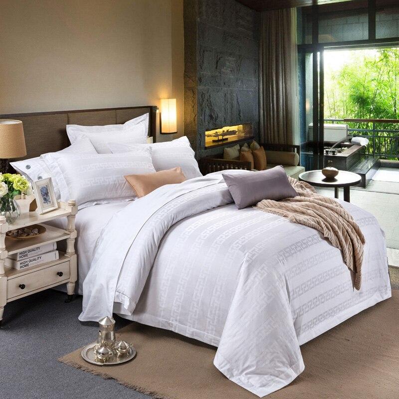 2018 Nouveau Blanc Hôtel Solide Ensemble de Literie 100% Coton Jacquard Reine roi Super King Size 4 Pcs Imprimer Drap Plat Housse De Couette