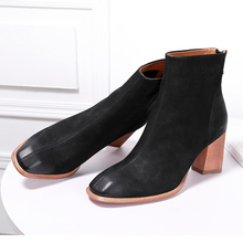 2018 VALLU Woman Boots for Autumn Winter Shoes Genuine Leather Square Toes Zipper High Heel Lady Ankle Female Warm Booties