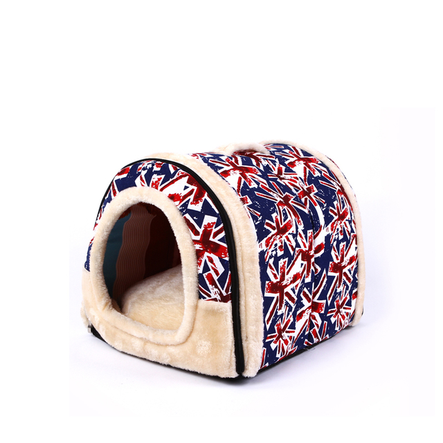 3 Size Portable Pet Dog Cat House Foldable Warm Cozy Pet  House Plush Cloth Cute Kennel For Universal  Pet Bed  Sofa