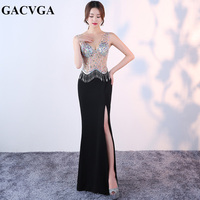 GACVGA 2019 Diamond Sexy Party Dresses Patchwork V Neck Tulle Women Dress Club Party Occasion Formal Long Dress Vestidos