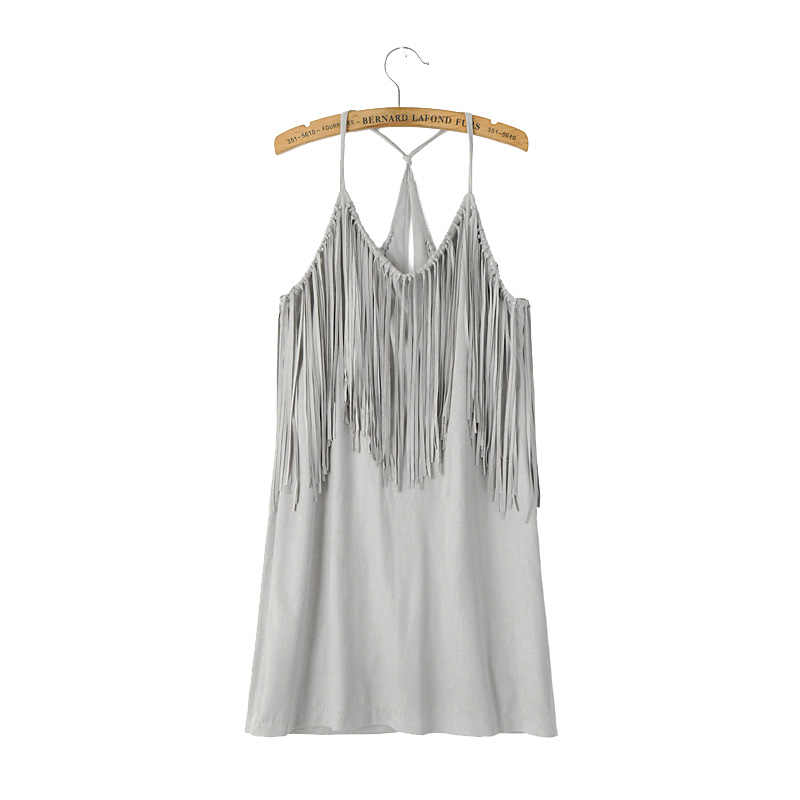 Для женщин и сексуальными тоненькими лямками замшевые платья с бахромой Vestido femininos (женская и мужская обувь с кисточками, мини-платье пляжные Клубная одежда, платья QZ2191